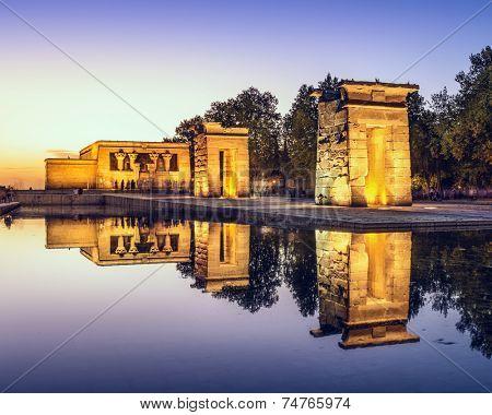 Temple Debod in Madrid, Spain.