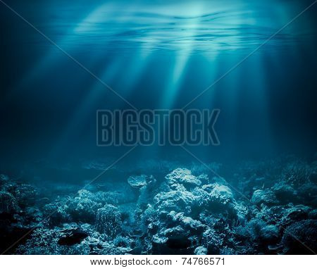 Sea deep or ocean underwater with coral reef as a background