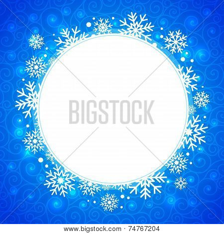 winter illustration. round frame with snowflakes and highlights