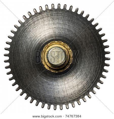 Clockwork gear, metal cogwheel. Isolated on white.