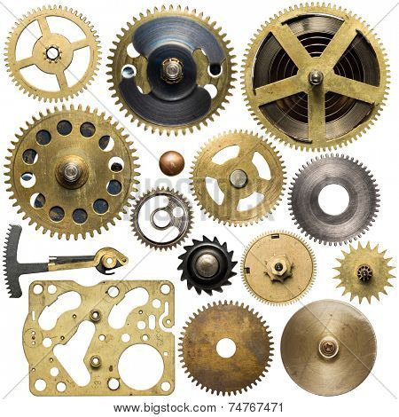 Clockwork spare parts. Metal gear, cogwheels.