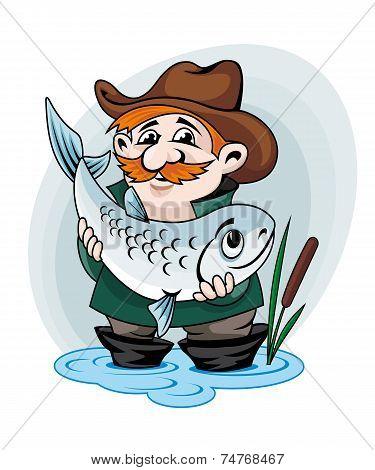 Fisherman catch a fish