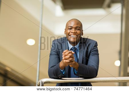 cheerful young afro american business man