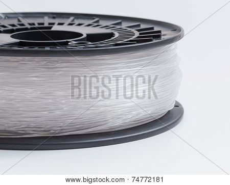 Filament For 3D Printer Clear Against A Light Background