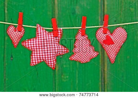 Red and white checkered Christmas ornaments
