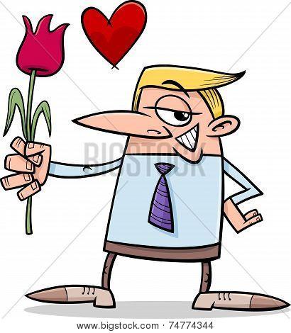 Man In Love Cartoon Illustration
