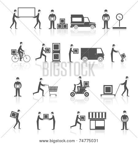 Delivery icons black set