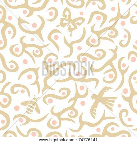 Seamless plant pattern with wildlife in tan and pink