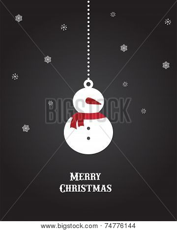 Christmas background and greeting card with hanging decoration of snowman