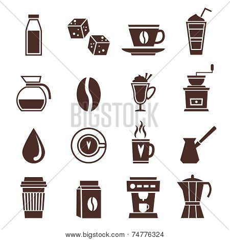 Coffee icons monochrome