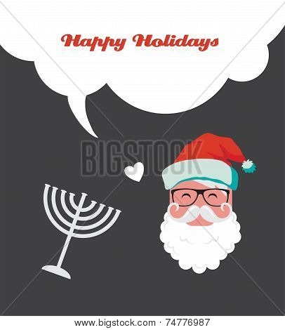 happy holidays, jewish holiday menorah and Xmas Santa