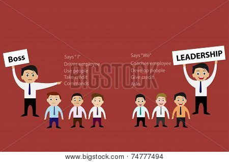 Boss and Leadership of business concept