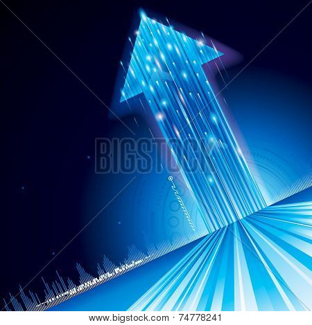 Growth upward arrow sign abstract technology background. Raster.