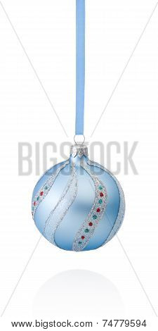 Blue Decorations Christmas Ball Hanging On Ribbon Isolated On White Background