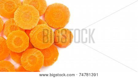 Top View Of Carrot - Orange Vegeable On White