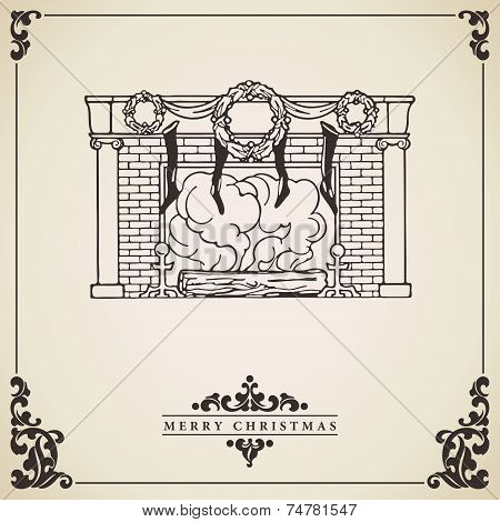 Christmas Card With Fireplace Vector Illustration.