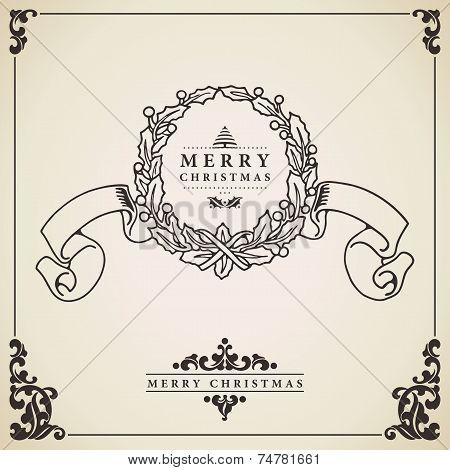 Christmas Wreath Card Vector.
