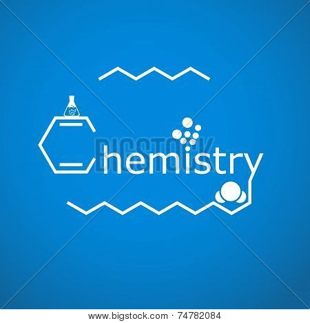 Stylized Word Chemistry On Gradient Blue Background