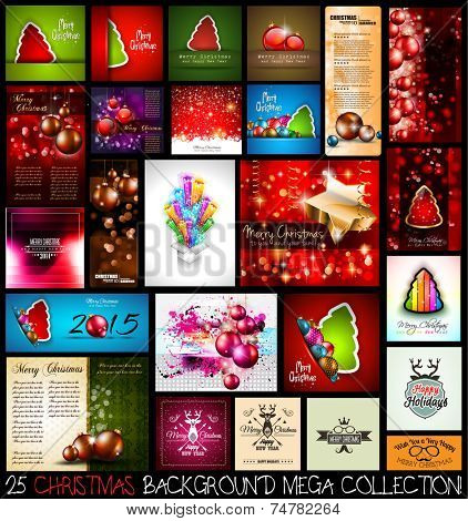 25 Christmas background MEGA collection set. A lot of masterpieces with Christmas themed elements to use for greeting cards, party flyers, people invitations, New year's brochures, menu covers.