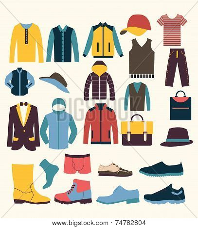 Colorful Vector Icon Set T In Icons Set Of Fashion Elements Men Clothes