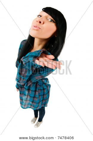 Cute Teenage Girl Sending A Kiss