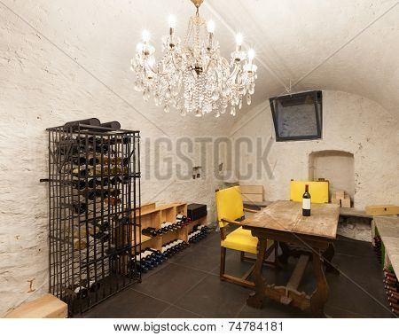 Wine cellar with wine bottle, interior