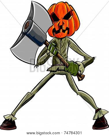 Cartoon pumpkin head with an axe