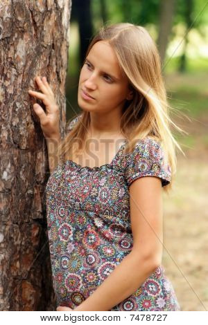 Young Woman Touch The Tree