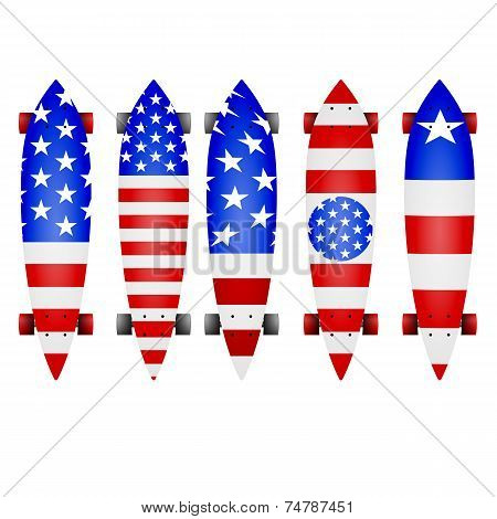Vector illustration of american flag longboards