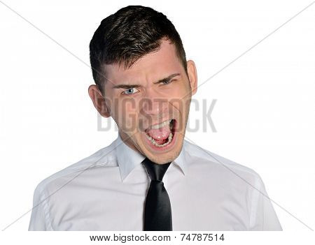 Isolated mad business man closeup