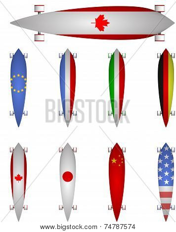 Vector illustration of world flags longboards