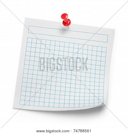 White Page In The Cell Sealed With A Clip On An Isolated White Background