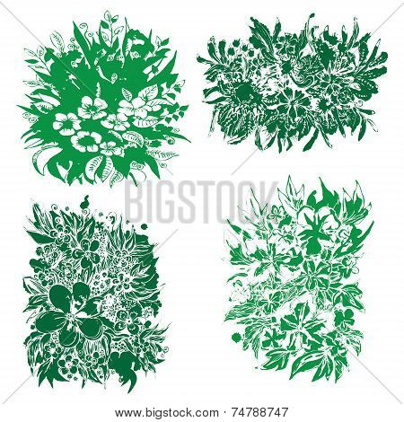 Vector abstract beautiful floral decorations