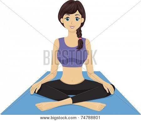 Illustration Featuring a Girl Sitting on a Yoga Mat