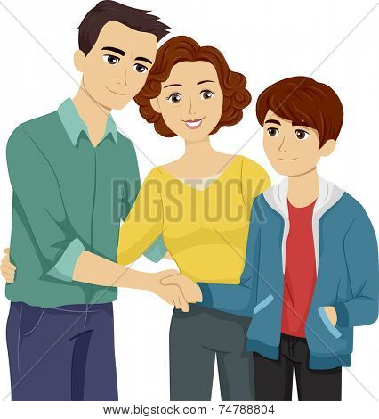 Illustration Featuring a Mother Introducing Her Son to His Stepfather