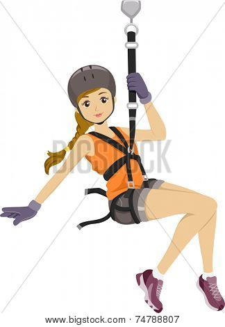 Illustration Featuring a Girl Sliding Down a Zipline