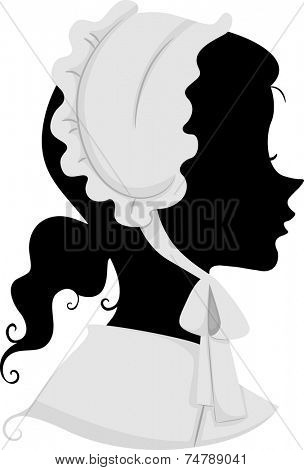 Illustration Featuring the Silhouette of a Female American Pilgrim