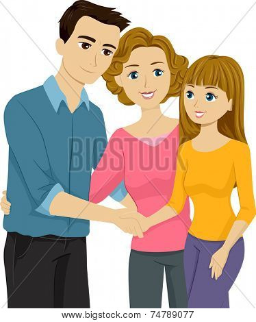 Illustration Featuring a Mother Introducing Her Daughter to Her Stepfather