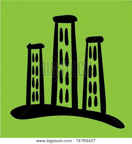 High Riser House sketch on green background