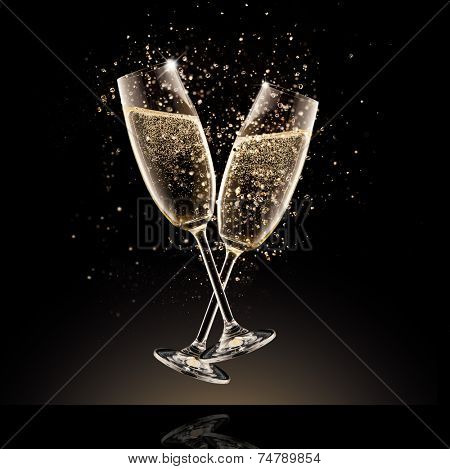 Celebration theme. Glasses of champagne with bubbles, isolated on black background