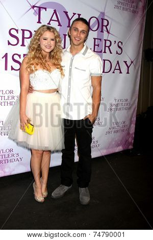 LOS ANGELES - OCT 25:  Taylor Spreitler, Spencer Knight at the Taylor Spreitler's 21st Birthday Party at the CBS Radford Studios on October 25, 2014 in Studio City, CA