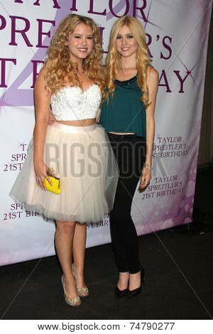 LOS ANGELES - OCT 25:  Taylor Spreitler, Katherine McNamara at the Taylor Spreitler's 21st Birthday Party at the CBS Radford Studios on October 25, 2014 in Studio City, CA