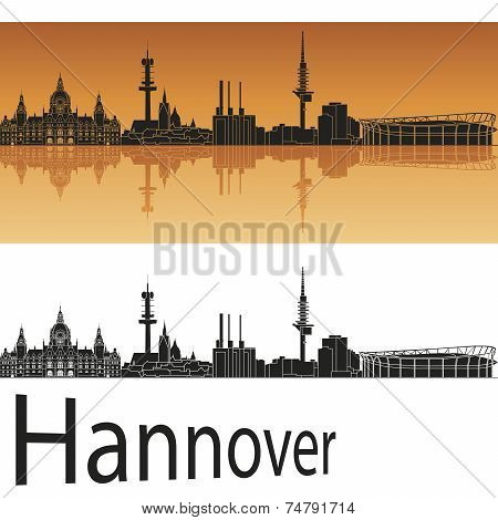 Hannover Skyline In Orange Background