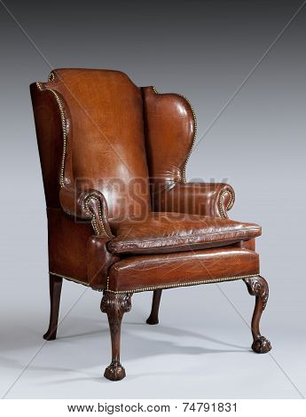 Antique Leather Wing Chair Carved Legs