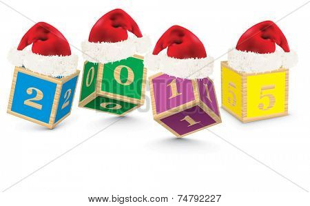 2015 made from toy blocks with christmas hats - vector illustration