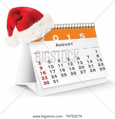 August 2015 desk calendar with Christmas hat - vector illustration
