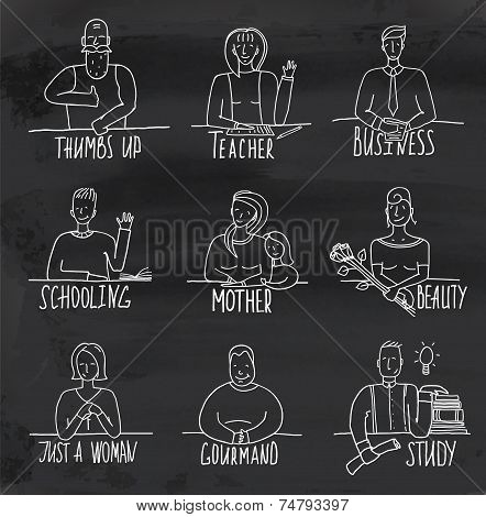 Monochrome Hand Drawn People Occupation on Blackboard