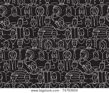 Black and White People Seamless Background Pattern