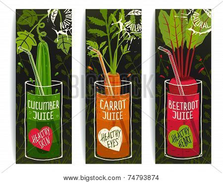 Drinking Diet Vegetable Juice Cartoon Design on Dark with Greens
