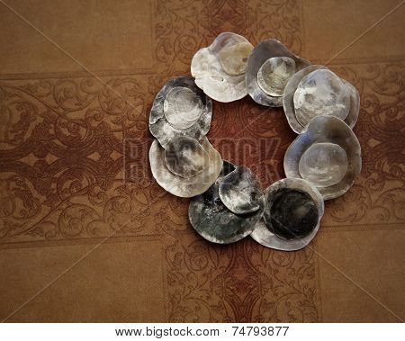 iridescent shells in circle pattern